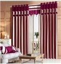 Modern Classic Vertical Stripe Red Blue Chenille Grommet Top Curtain