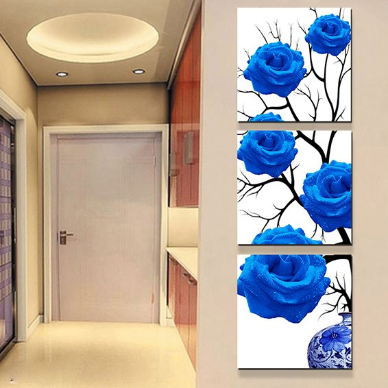 Entrance Hall Romantic Blue Roses 3-Piece Crystal Film Art Wall Print