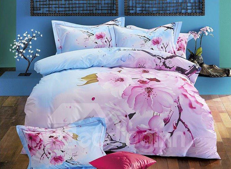 Delicate Pink Peach Bloosom Print 4-Piece Cotton Duvet Cover Sets