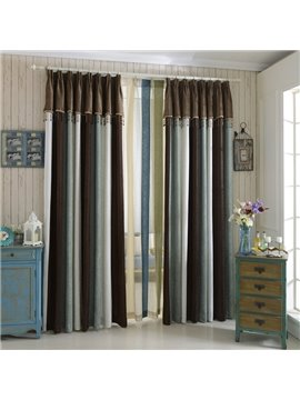 High Class Elegant Concise Green White Brown Chenille Grommet Top Curtain