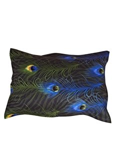 Wonderful Peacock Feather Printing One Pair Cotton Pillowcases