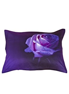 The Charming Purple Rose Printing One Pair Cotton Pillowcases