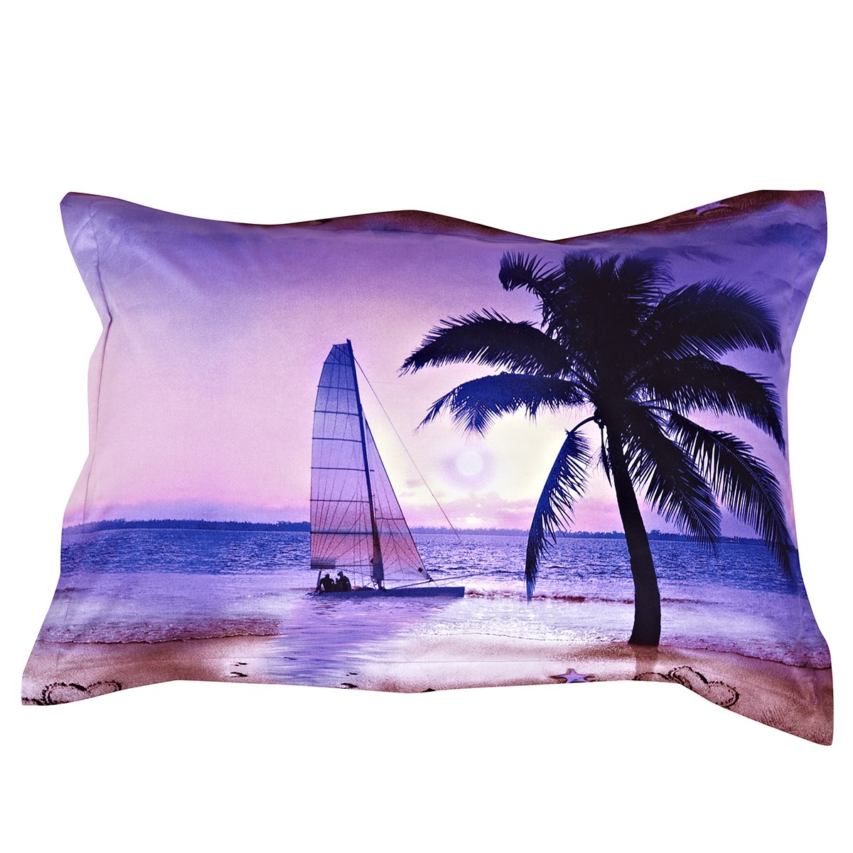 Coconut Tree and Sailing Ship Printing One Pair Cotton Pillowcases
