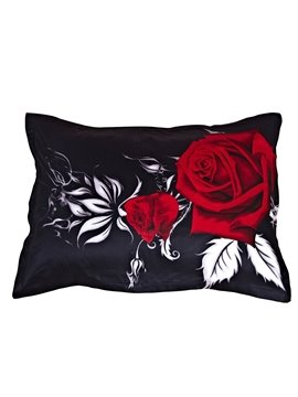 Bright Red Rose with Black Ground One Pair Cotton Pillowcases