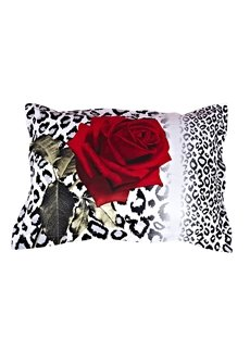 Sexy Red Rose and Leopard Print One Pair Cotton Pillowcases