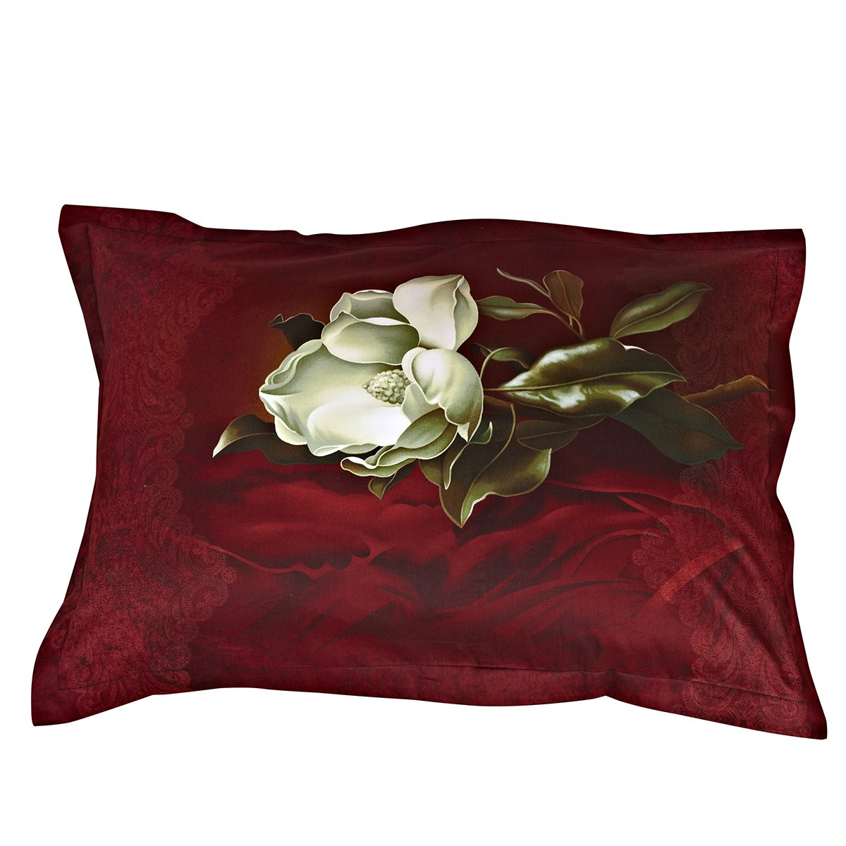 Retro Fashion White Flower Print One Pair Cotton Pillowcases