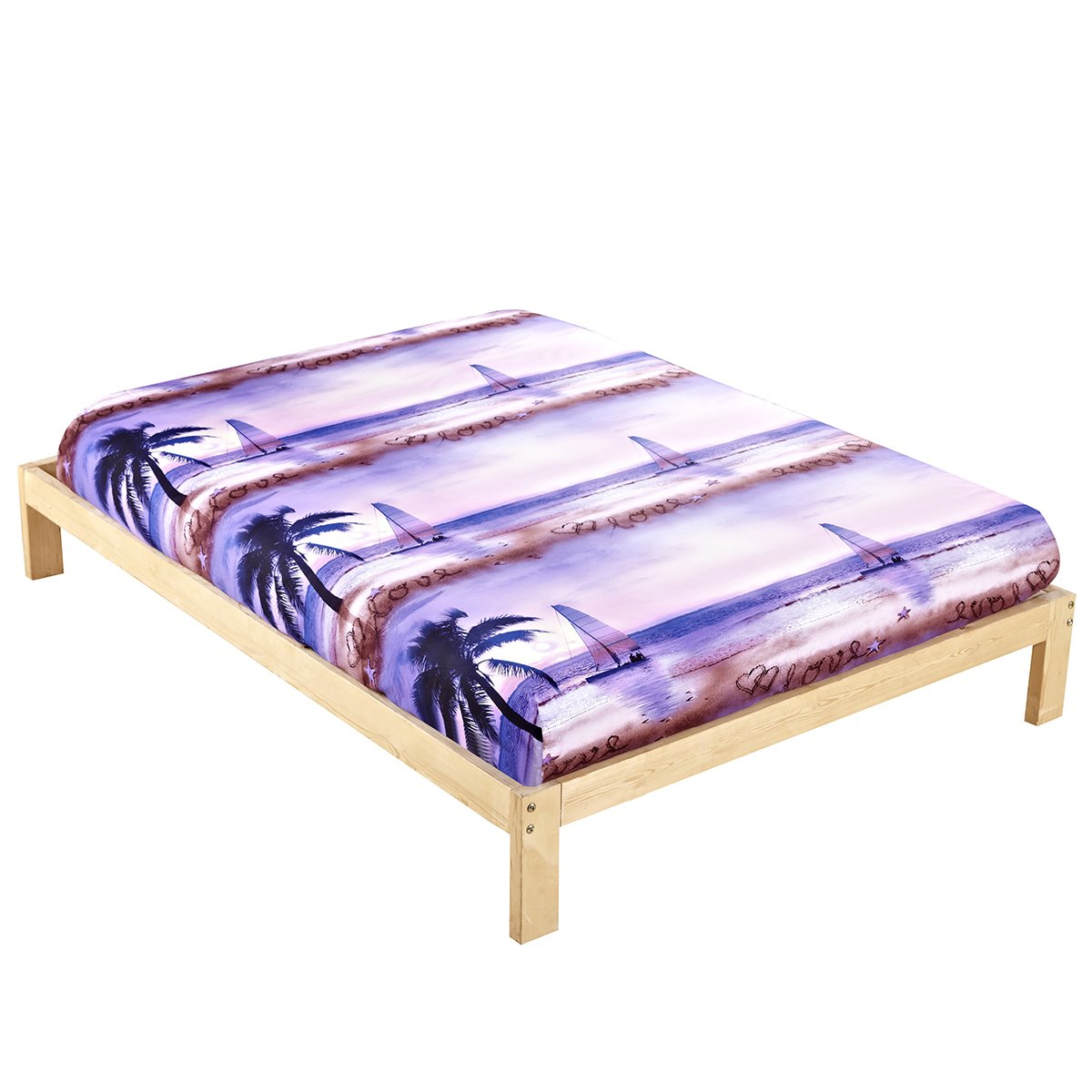 Coconut Tree and Sailing Ship Printing Cotton Fitted Sheet