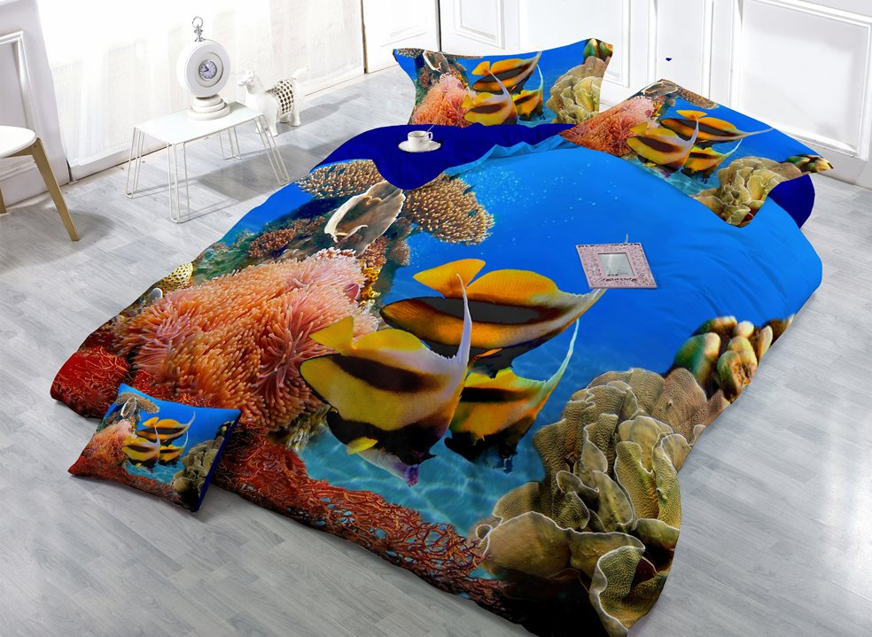 Stunning Sea World Digital Print 4-Piece Cotton Duvet Cover Set