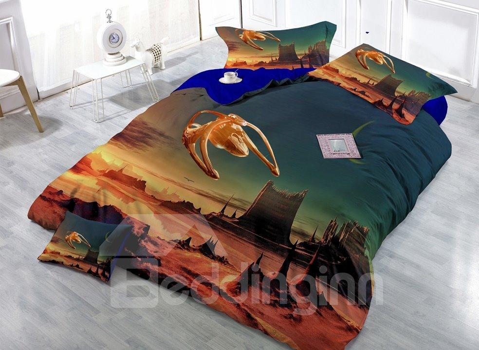 Alien Landscape Digital Print 4-Piece Cotton Duvet Cover Set