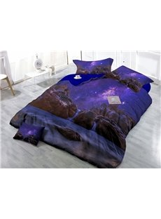 Amazing Purple Starry Sky Print 4-Piece Cotton Duvet Cover Set