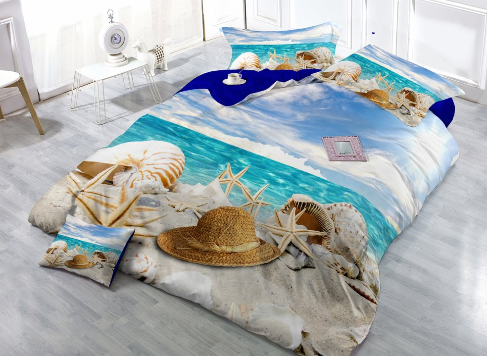 Holiday Beach Digital Print 4-Piece Cotton Duvet Cover Set beddinginn