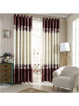 New High Class Gorgeous Stitching Linen Grommet Top Curtain