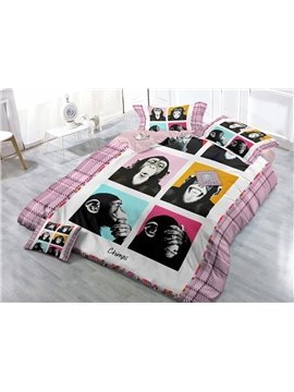 Funny Chimps Digital Print 4-Piece Cotton Duvet Cover Set