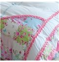 Handmade Pink Flower and Butterfly Print 4-Piece Cotton Kids Duvet Cover Sets