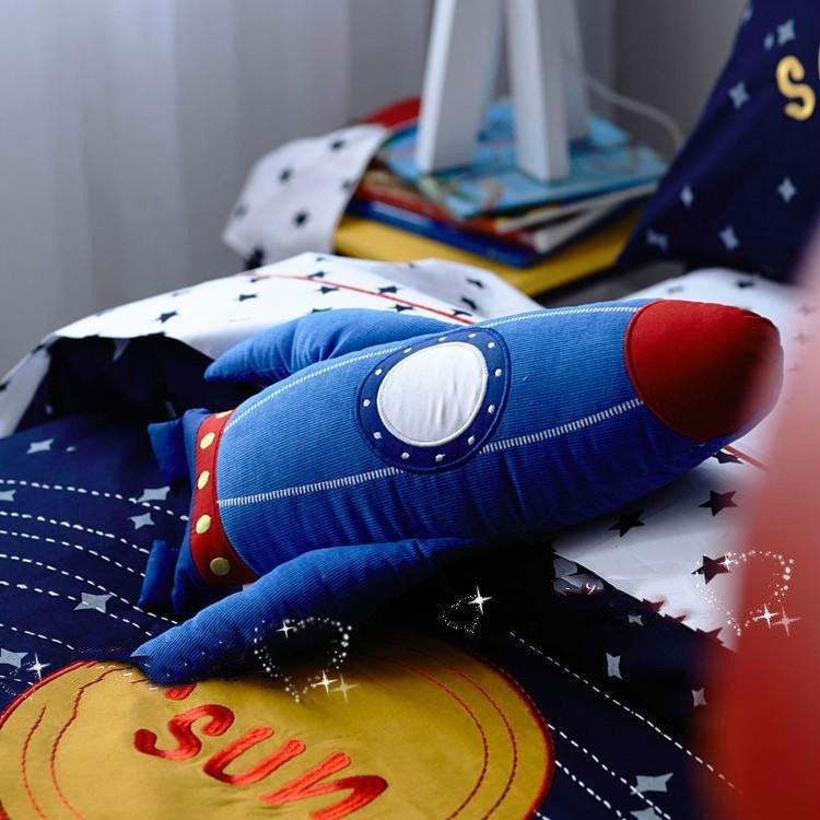 Solar System Applique Embroidery 3-Piece Cotton Kids Duvet Cover Sets