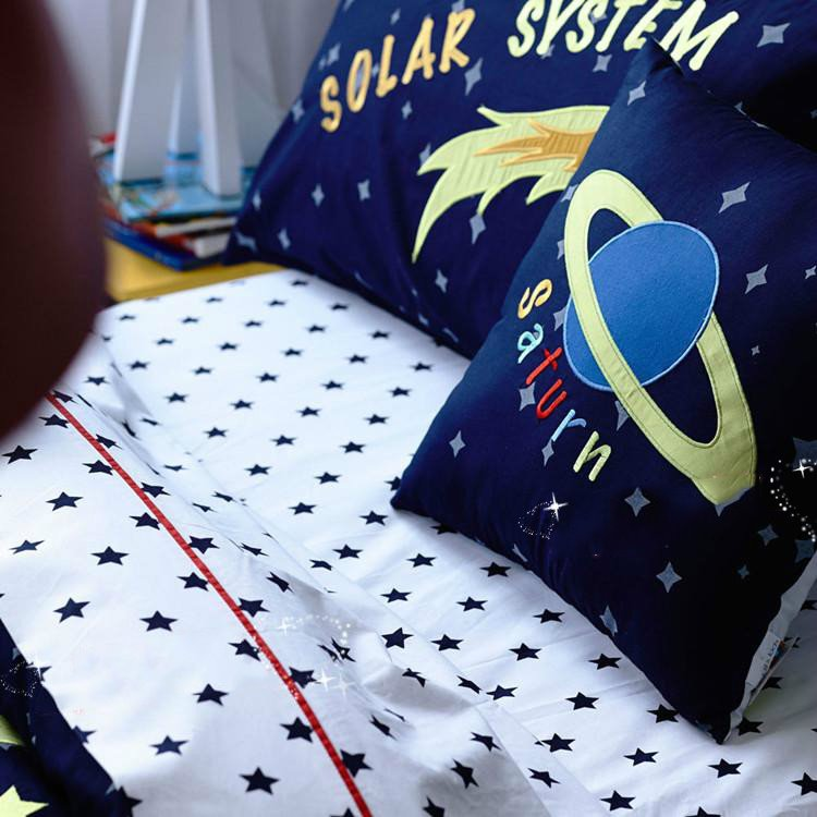 Solar System Pattern Cotton Boy 3-Piece Blue Duvet Covers/Bedding Sets