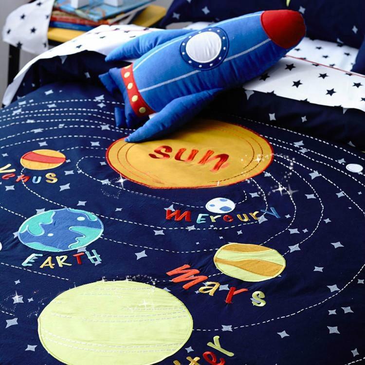 Solar System Pattern Cotton Boy 3-Piece Blue Duvet Covers/Bedding Sets