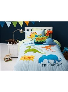 Dinosaur World 4-Piece Cotton Kids Duvet Cover Sets