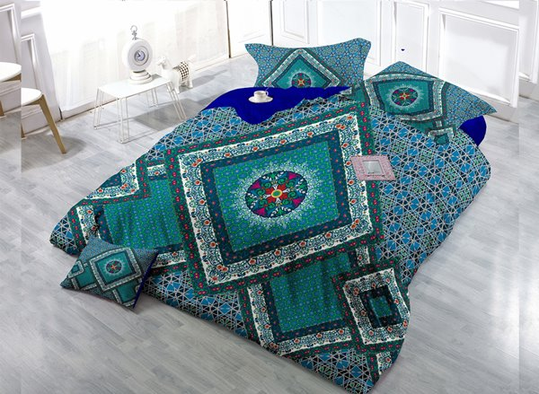 Geometric Patterny Digital Print 4-Piece Cotton Duvet Cover Set