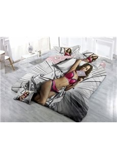 Sexy Girl  Digital Print 4-Piece Cotton Duvet Cover Set