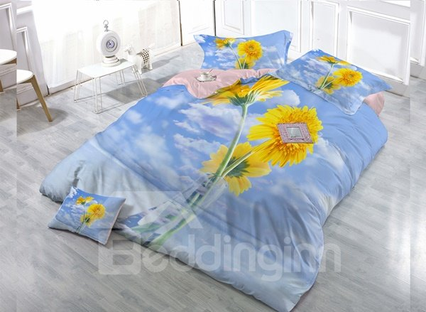 Sunflower  Digital Print 4-Piece Cotton Duvet Cover Set