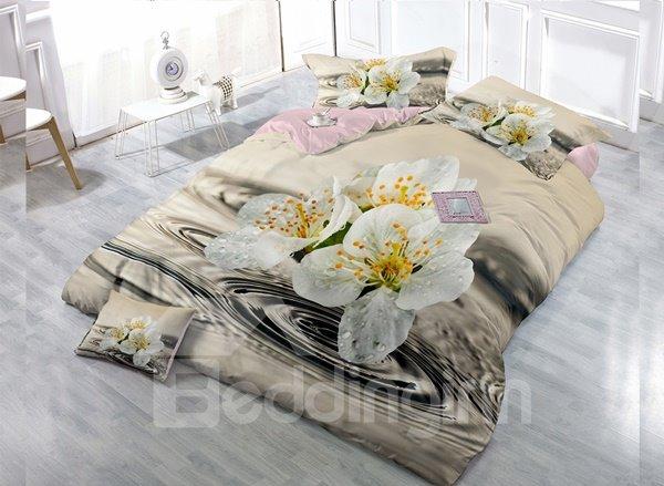 White Lily Digital Print 4-Piece Cotton Duvet Cover Set