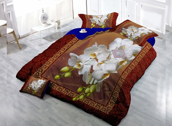 Top Grade White Flowers Digital Print 4-Piece Cotton Duvet Cover Set