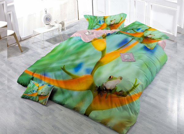 Big Eye Frog Digital Print 4-Piece Cotton Duvet Cover Set