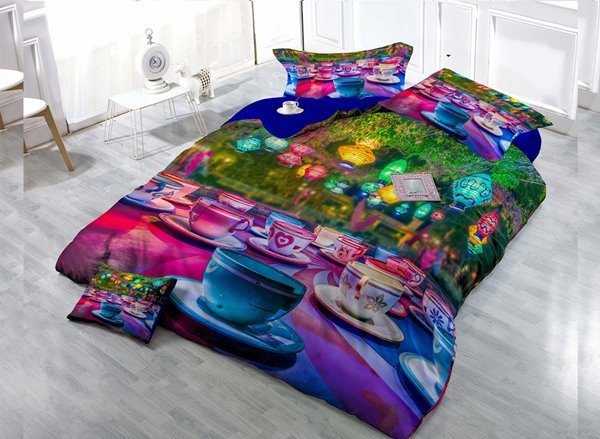 Colorful Cup  Digital Print 4-Piece Cotton Duvet Cover Set
