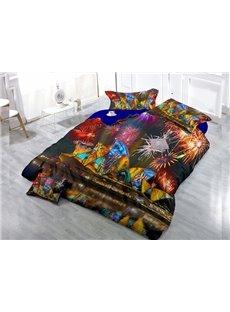 Colorful Fireworks  Digital Print 4-Piece Cotton Duvet Cover Set