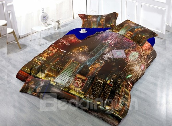 Prosperous Night Scene  Digital Print 4-Piece Cotton Duvet Cover Set