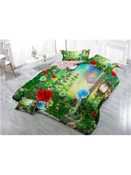Flowers And Grass Digital Print 4-Piece Cotton Duvet Cover Set