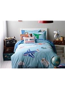 Blue Plane on the Sky Print 4-Piece Cotton Kids Duvet Cover Sets
