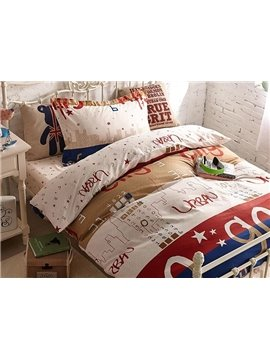 Number City Print 3-Piece Cotton Kids Duvet Cover Sets