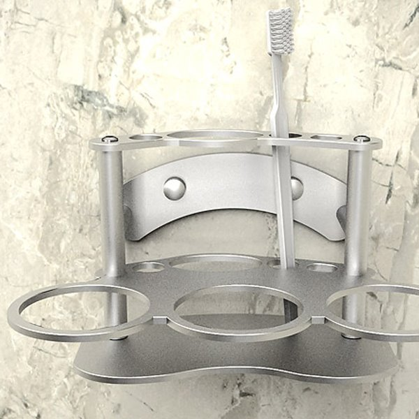 Creative Alumimum Never Rust Three-Cup Toothbrush Holder