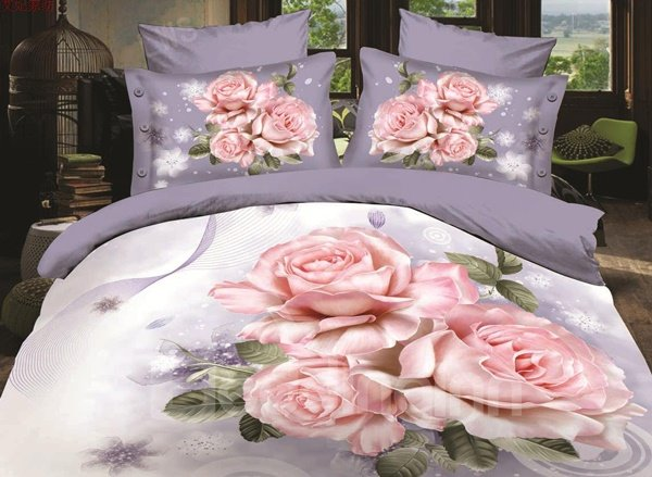 Noble Rose and Snow Flower Print 4-Piece Polyester Duvet Cover Sets