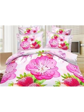 Strawberry and Flower Print 4-Piece Polyester Duvet Cover Sets