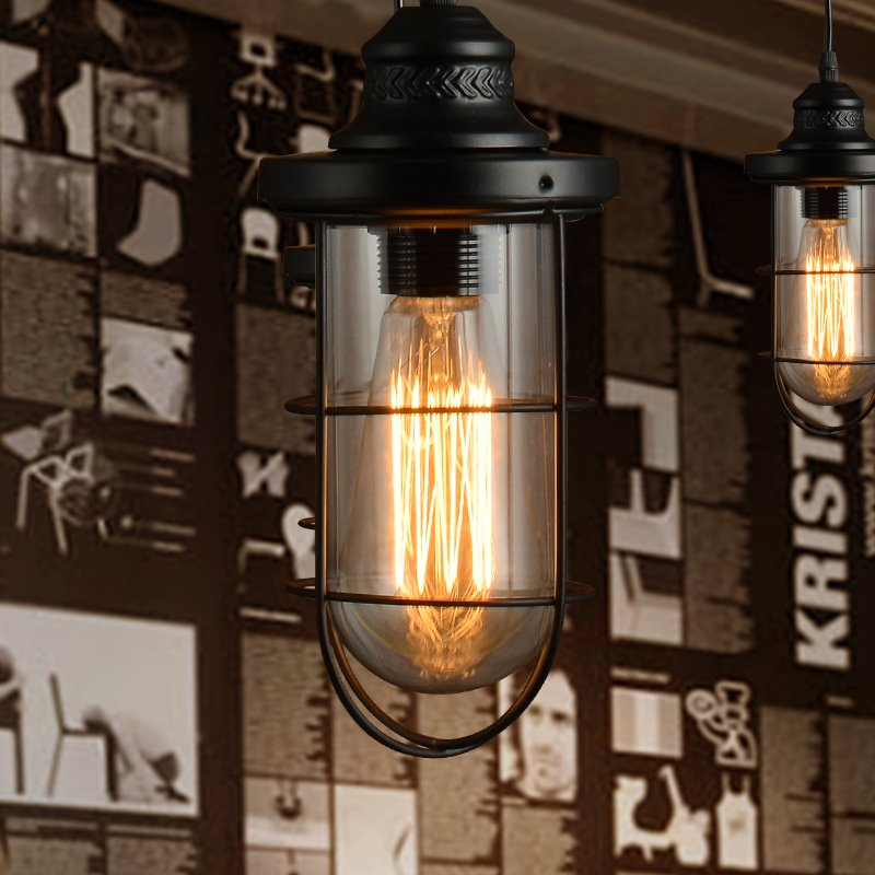 Retro American Style Dining Bar Dock Glass Shade with Iron Frames Pendant Lights