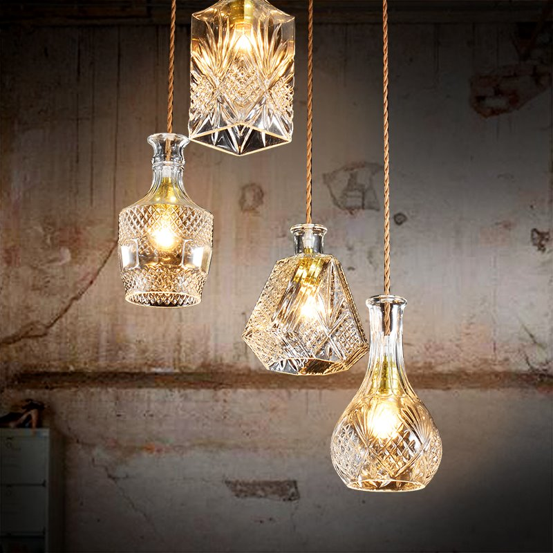 Nordic Retro Creative Multi-Shaped Dining Room Bar 4-Head Glass Pendant Lights