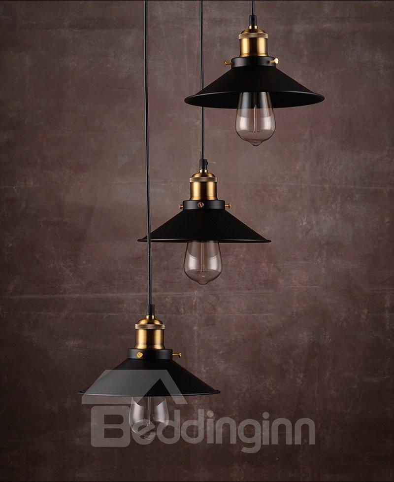 Black Nordic Retro Creative Bar Restaurant Loft Decoration 3-Head Pendant Lights