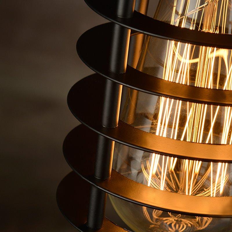 Vintage Home Bar Restaurant Cylinder-Shaped Iron-Framed Pendant Light