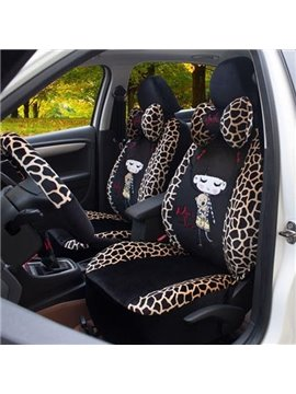 Deer Lines and Girls Printing Plush Car Seat Cover