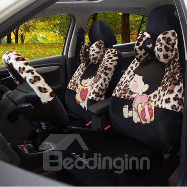The Romantic Leopard and Loving Couple Printing Plush Car Seat Cover