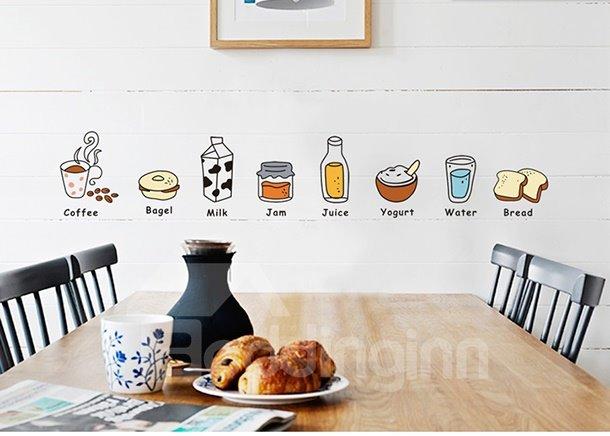 Cute Creative Kitchen Fridge Dining Room Food Sketches Decorative Wall Sticker