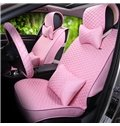 Classical Grid Ventilated Free Binding Linen Car Seat Cover