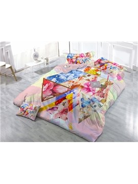 Geometric Figure Petal 4-Piece High Density Satin Drill Duvet Cover Sets