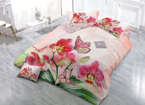 Pink Flower And Butterfly 4-Piece High Density Satin Drill Duvet Cover Sets
