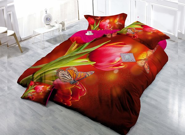 Red Flower  4-Piece High Density Satin Drill Duvet Cover Sets