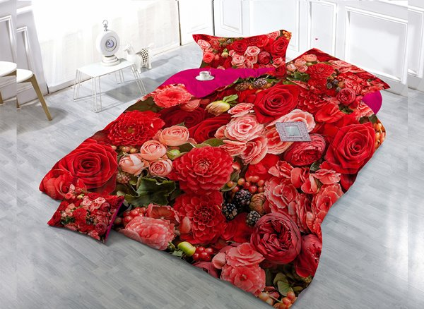 Red Pink Flower  4-Piece High Density Satin Drill Duvet Cover Sets