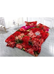 Red Pink Flower  4-Piece High Density Satin Drill Duvet Cover Sets